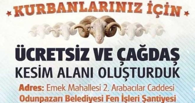 ODUNPAZARI'NDAN ÜCRETSİZ KURBAN KESİM HİZMETİ